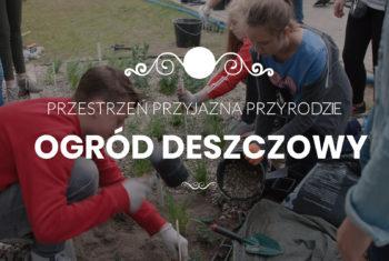 Ludzie budujący ogród deszczowy. Dziewczynka wysypująca żwir, mężczyzna sadzący rośliny.