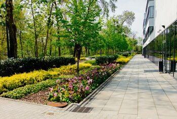 Po lewo wysokie drzewa i niski żywopłot, na środku kolorowe kwiaty, po prawo oszklony budynek
